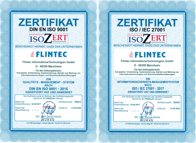 Flintec ISO 9001 and 27001