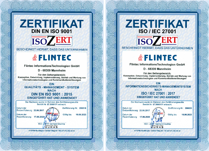 Flintec ISO 9001 and 27001 certificate